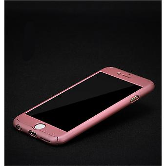 Full cover 360 case mobile protection cover with bullet-proof glass for Apple iPhone 5 / 5 s / SE in pink all-round protection case cell phone cover case