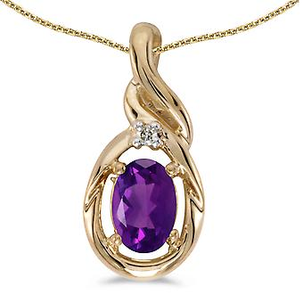 10k Yellow Gold Oval Amethyst And Diamond Pendant with 16