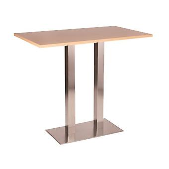 Daniella Stainless Steel Tall Poseur Table - Twin Base Oblong Various Top Sizes And Colours