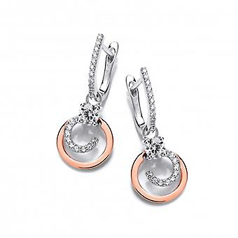 Cavendish French Silver, CZ and Rose Gold Swirl Drop Earrings