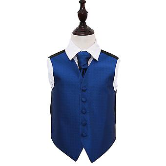 Boy's Royal Blue Greek Key Patterned Wedding Waistcoat & Cravat Set