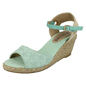 Ladies Spot On Low Wedge Platform Sandals
