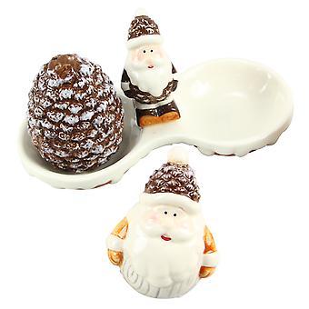 Vinter Woodlands Santa med Pine kegle Salt og peber Shaker indstille keramik