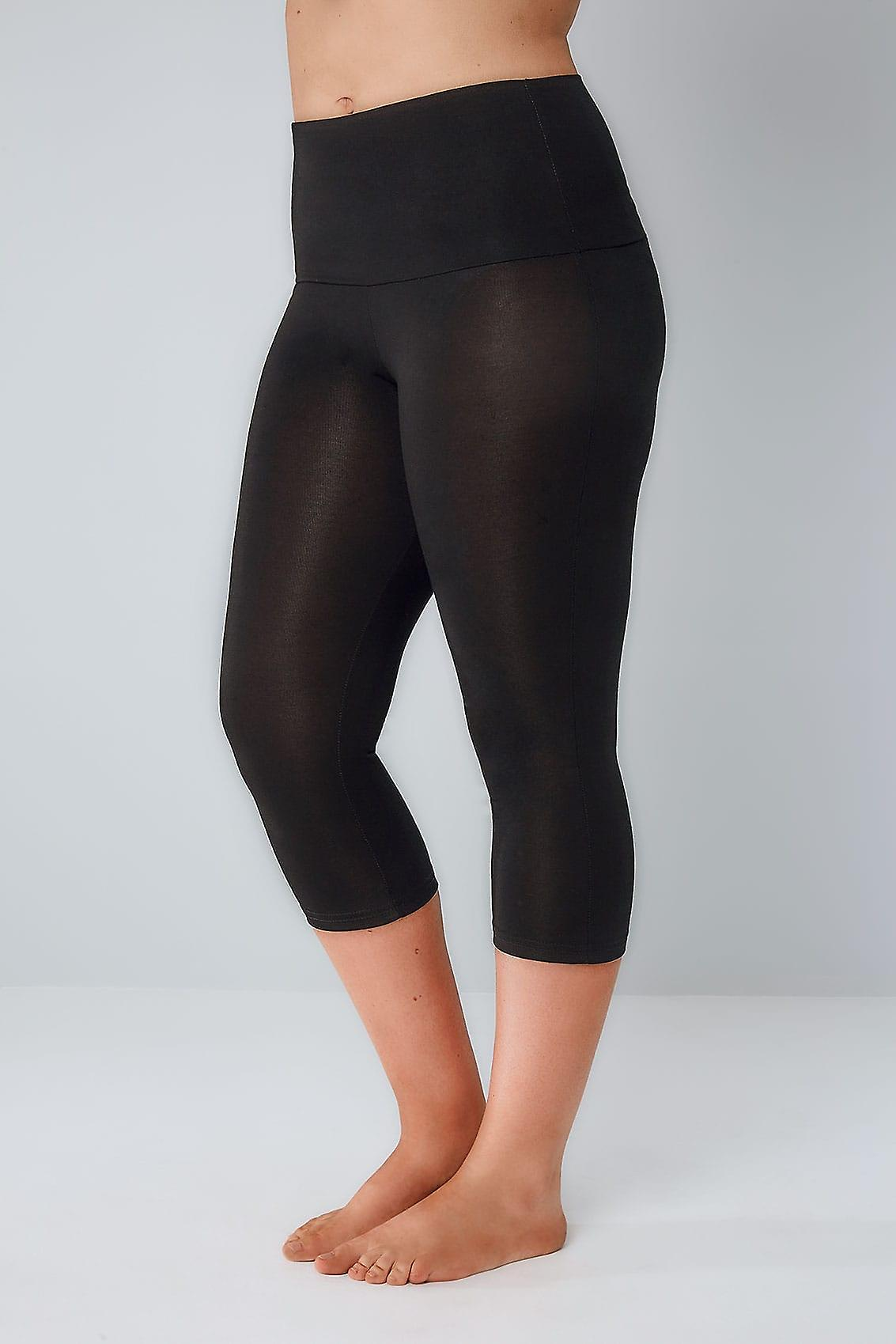 Black TUMMY CONTROL Viscose Elastane Cropped Leggings