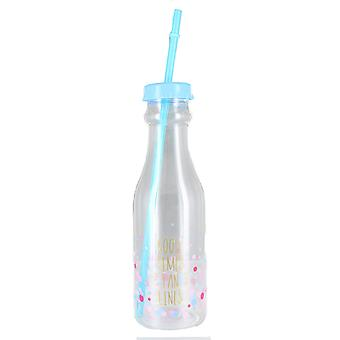 'Good Times Tan Lines' Blue Screw Lid With Multicoloured Spots Plastic Bottle
