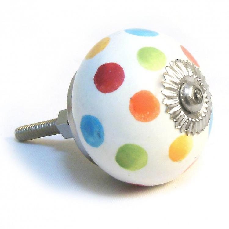Multi Coloured Spotted Ceramic Cupboard Knob