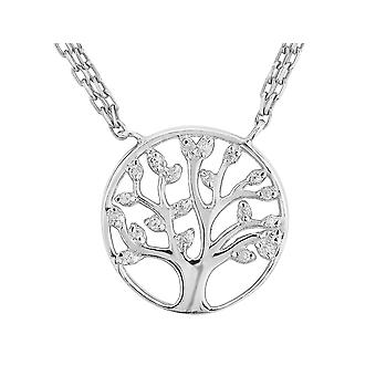 Synthetic White Topaz Tree of Life Pendant Pendant Necklace 1/5 Carat (ctw) in Sterling Silver