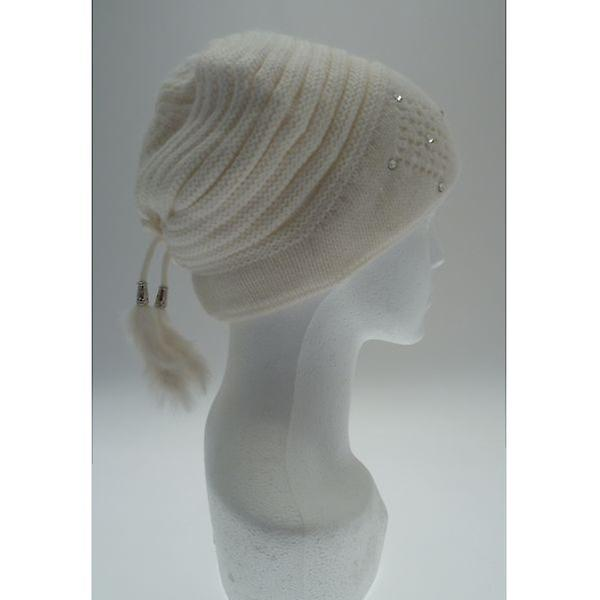 W.A.T Soft Cream Knitted Fur Tassel Hat
