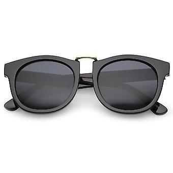 Classic Metal Nose Bridge Round Lens Horn Rimmed Sunglasses 52mm