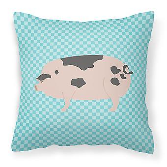 Gloucester Old Spot Pig Blue Check Fabric Decorative Pillow