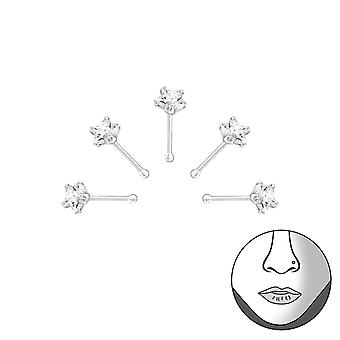 Star - 925 Sterling Silver + Cubic Zirconia Nose Studs
