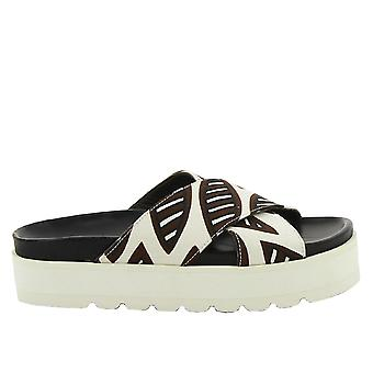 Erika Cavallini ladies E5CC5E029 white/Brown fabric sandals