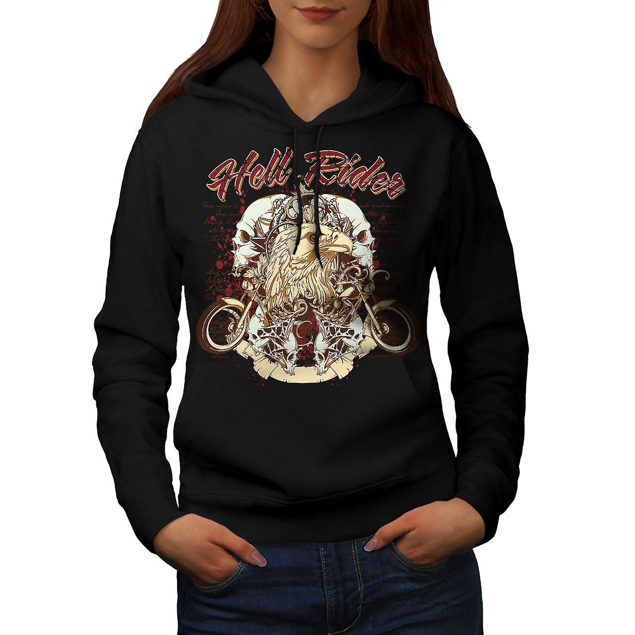 Hell Rider Eagle Biker Women Black Hoodie | Wellcoda