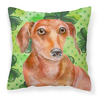 Red Dachshund St Patrick's Fabric Decorative Pillow