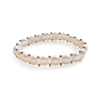 Bracelet Stretch woman in white freshwater cultured pearls, form button