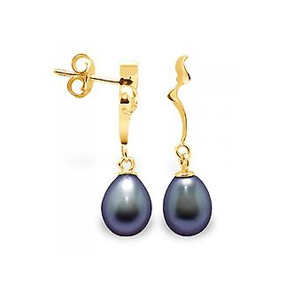 Earrings ears Pendantes pearls of Culture black and yellow gold 375/1000