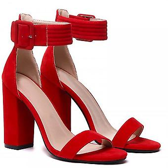 Shoe Closet Ladies DB115 Red Ankle Strap Strappy Sandals Peep Toes High Heel