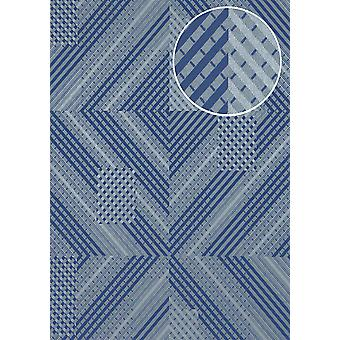 Graphic wallpaper ATLAS XPL-564-8 non-woven wallpaper structured with geometric forms shimmering blue-violet blue grey blue silver 5.33 m2