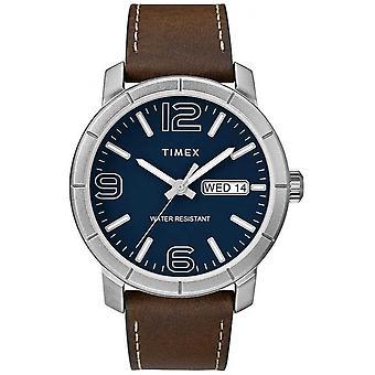 Timex Mod męskie 44 brązowy skórzany pasek niebieski cyferblat zegarek TW2R64200