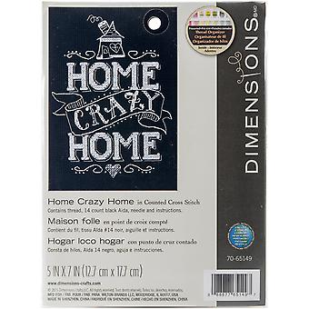 Home Crazy Home Mini Counted Cross Stitch Kit-5