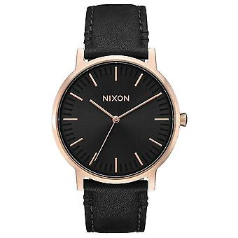 Nixon The Porter Leather Watch - Black/Rose Gold