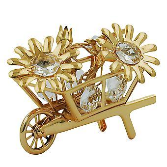 Wheelbarrow with flowers gold plated crystal flower wheelbarrow glass stones