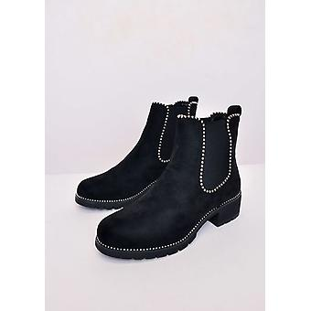 Faux Suede Chunky bezaaid Chelsea Ankle Boots zwart