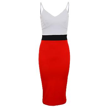 Ladies Strappy Celeb Amanda Contrast Panel Vrouwen Pencil Midi Bodycon jurk