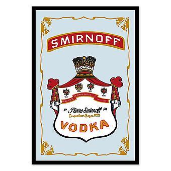 Smirnoff vodka mirror wall mirror with black plastic framing wood.