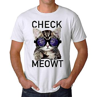 Humor Check Meowt Cat Paris Graphic Men's White T-shirt