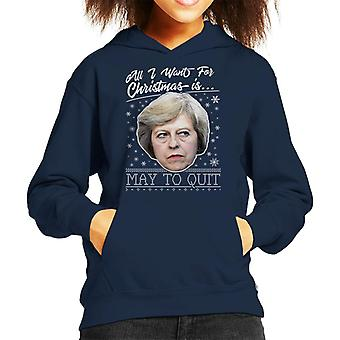 All I Want For Christmas Is May To Quit Kid's Hooded Sweatshirt