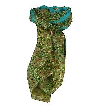 Mulberry silkeskjerf tradisjonelle torget Salena Aquamarine & Green av Pashmina & Silk