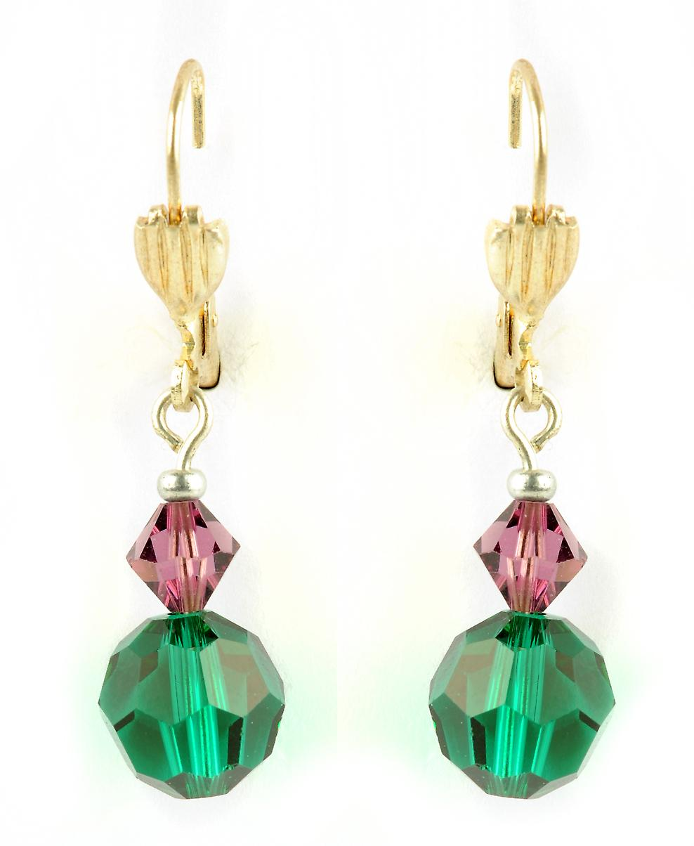 Waooh - jewelry - WJ0810 - earrings with purple & green on Mount gold tone Swarovski rhinestones