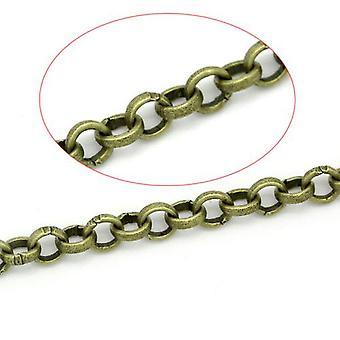 5m x antikk bronse belagt jern legering 4mm åpne kabel kjede CH1390