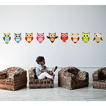 Full Colour Set of 9 Cute Owls Wall Sticker