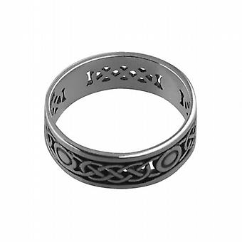 Silver oxidized 8mm pierced Celtic Wedding Ring Size Z+1