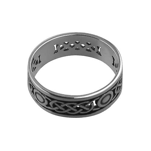 Silver oxidized 8mm pierced Celtic Wedding Ring