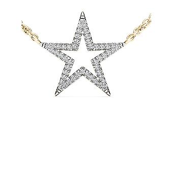 IGI Certified 10k Yellow Gold 0.12 Ct Natural Diamond Star Pendant Necklace
