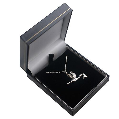 Silver 22x30mm solid Stork with Baby Pendant with a rolo Chain 14 inches Only Suitable for Children