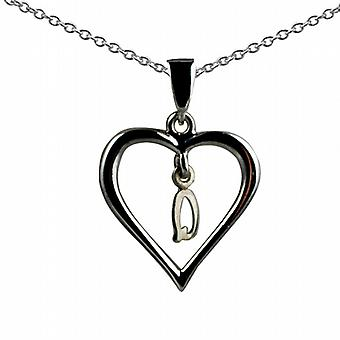 Silver 18x18mm initial Q in a heart Pendant with a rolo Chain 20 inches