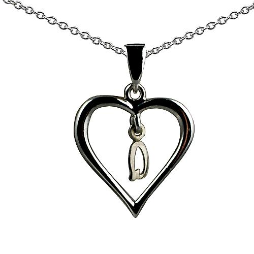 Silver 18x18mm initial Q in a heart with rolo chain