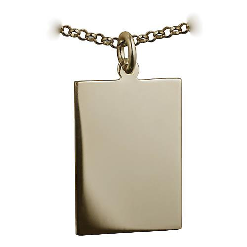 9ct Gold 25x18mm plain rectangular Disc with a belcher Chain 16 inches Only Suitable for Children