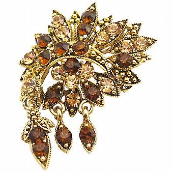Artisically Designed Antique Gold Vintage Brooch Scarf Jacket Brooch