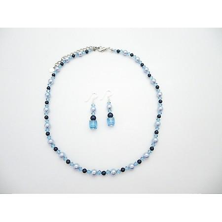 Swarovski Lite Aquamarine Crystals Lite Blue Night Pearls Necklace Set