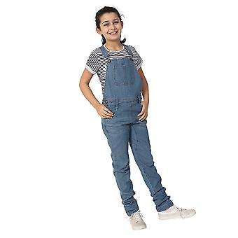 Girls Palewash Denim Dungarees Age 4-14 Years Slim Fit Overalls