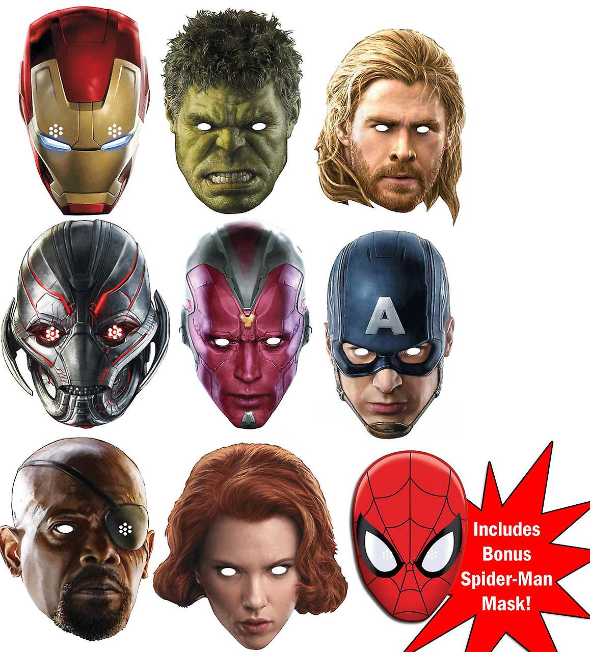 Marvel's Avengers Age of Ultron Super Hero Set of 9 Variety Face Mask Pack