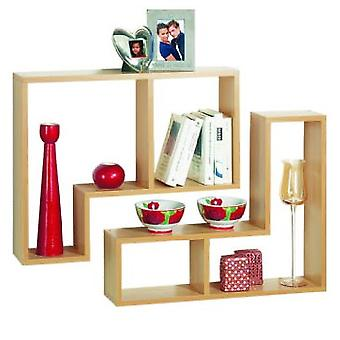 Twin - wand Display / opslag zwevende planken - Set van twee - beuk