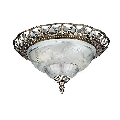 Searchlight 7045-13 Flush Ceiling Light Antique Brass And Frosted Glass Diffuser