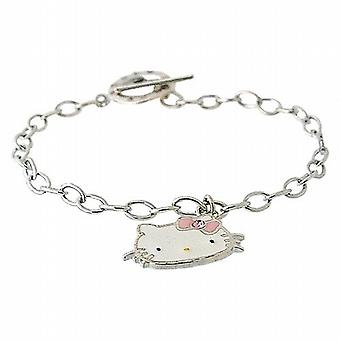TOC Sterling Silver Colourful Kitten Charm T-Bar Bracelet 7