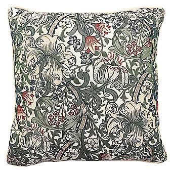 William morris - golden lily cushion cover by signare tapestry / 18in x 18in / ccov-glily